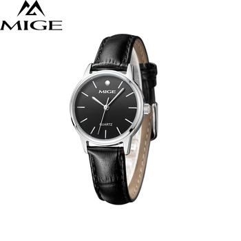 2017 Mige New Hot Sale Top Fashion Women Wristwatches Casual Black Leather Strap Female Clock Steel Waterresistant Ladies Watch
