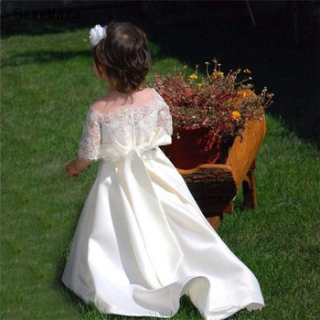 New Off the Shoulder Baby Girl's Birthday Banquet Half Sleeves Lace Dress Elegant Girls Long White Dress with Ribbon