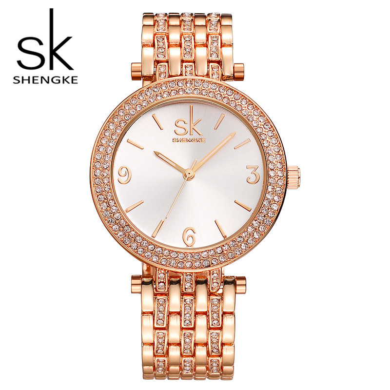 SK Brand Fashion Women Wrist Watches Luxury Gold Silver Stainless Steel Women Dress Watch Quartz Watches Relogio Feminino S0011 misscycy lz the 2016 new fashion brand top quality rhinestone men s steel band watch quartz women dress watch relogio feminino
