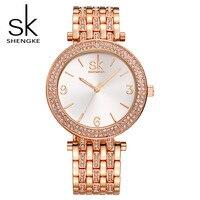 SK Brand Fashion Women Wrist Watches Luxury Gold Silver Stainless Steel Women Dress Watch Quartz Watches