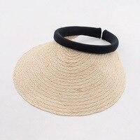 Muchique Sun Visor Summer Beach Women Hat 2017 Natural Raffia Straw Hats With Wide Brim Handmade
