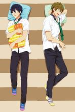 Japanese Anime Free! Haruka Nanase & Makoto Tachibana Male Throw Pillow Cover Case Dakimakura BL Hugging Body 512047