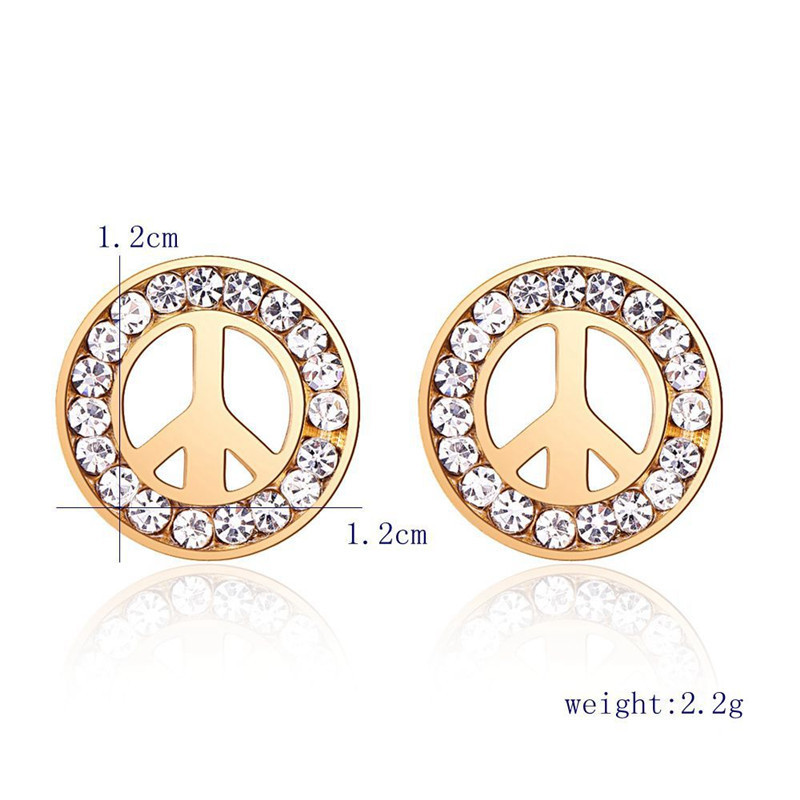 Fashion Geometric Round Stainless Steel Ear Studs Gold Silver Color Peace Sign Crystal Earrings Uni Jewelry In Stud From Accessories