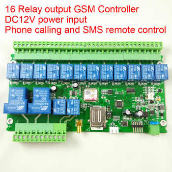 Free shipping 16 channel Ouput GSM remote control relay switch board battery for power off alarm (not in normal package)