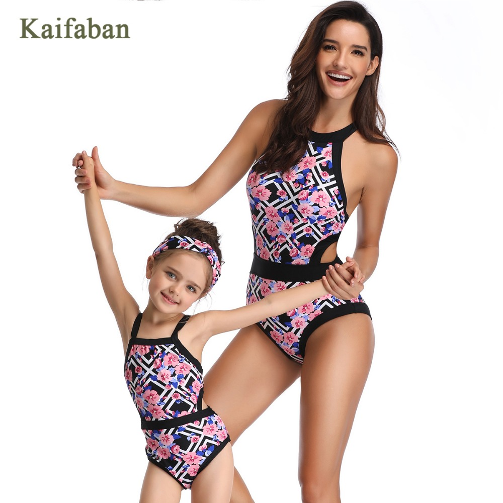 Girls Women Retro Geometric One Piece Bikini Monokini Swimsuit Swimwear Mother Daughter Splice Beach Wear Bathing