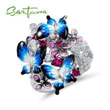 산투 자 실버 반지 여성을위한 925 스털링 실버 매력적인 나비 반짝 큐빅 지르코니아 반지 패션 주얼리 에나멜