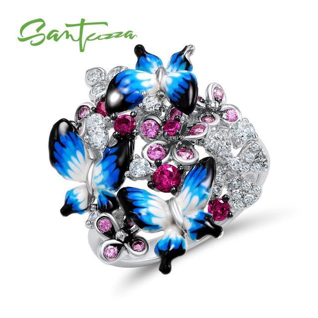 SANTUZZA серебряное кольцо для женщин 925 пробы серебряные Гламурные бабочки со светящимся кубическим цирконием кольцо модные украшения эмаль