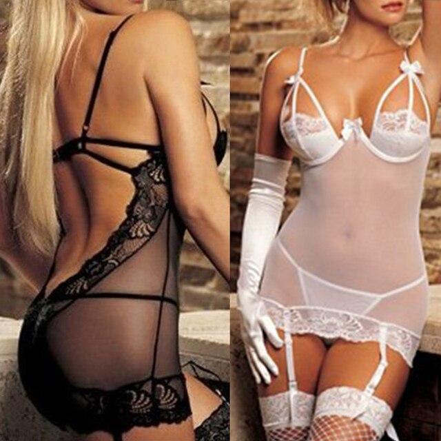d59797f9b8 2017 Mujer Transparente sexo ropa interior Sexy Lencería red erótica Lencería  para mujeres blanco y negro