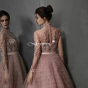 Image 3 - Leeymon Pink Ruffle Tulle Evening Dress High Neck Long Sleeves Embroidery beaded Vestido de Noche Formal Dress