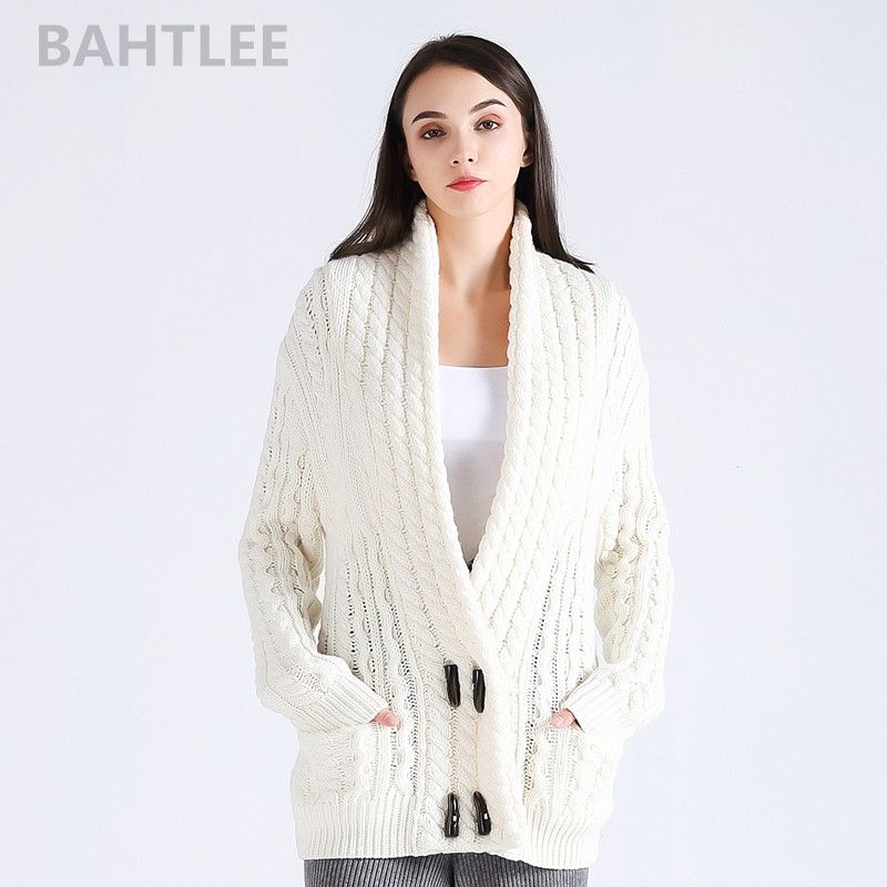 BAHTLEE 2018 Autumn winter women s wool Anti pilling cardigans knitted sweater v neck looser style