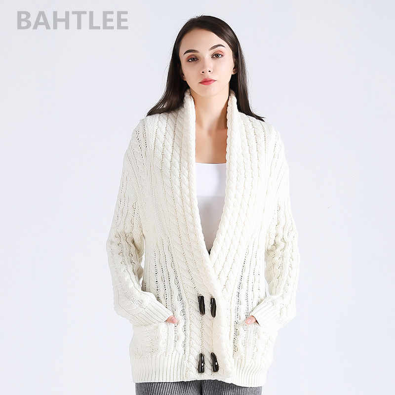 BAHTLEE 2018 Autumn winter women s wool Anti-pilling cardigans knitted  sweater v-neck looser f1a825461