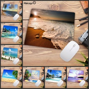 Image 1 - لوحة ماوس كبيرة من Mairuige مطبوعة جديدة على شاطئ النخيل لوحة ماوس لعبة كمبيوتر مكتبي حجم 180X220X2MM لوحة ماوس صغيرة