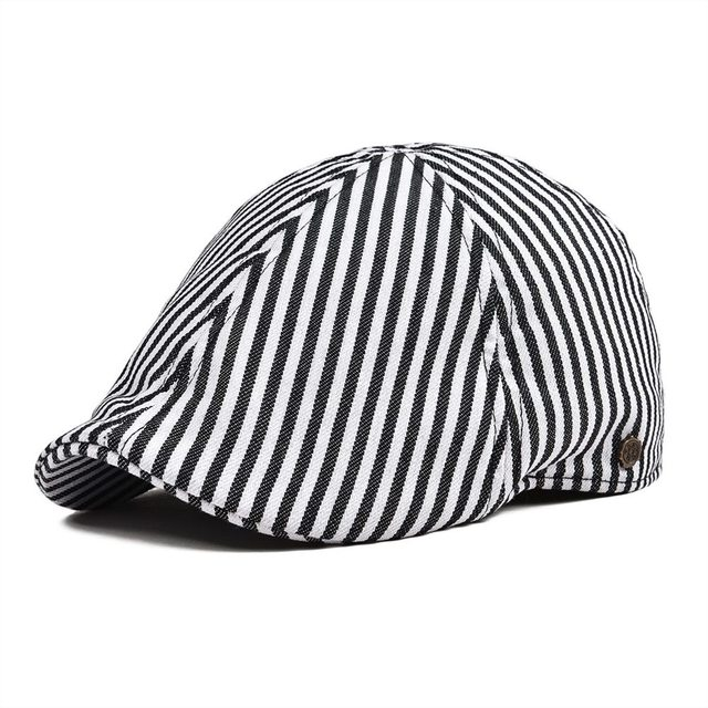d20f7e44c91 VOBOOM Twill Cotton Flat Cap Black Navy Blue Ivy Caps Stripes 6 Panel Design  Men Women Gatsby Hat Newsboy 147