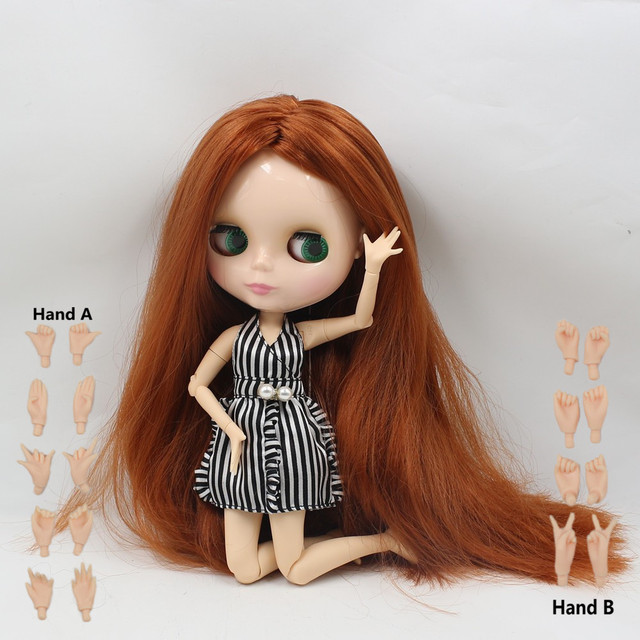Neo Blythe Doll Centre Parting Straight Brown Hair Joint Body Nude Doll Hand Set Option Free Gifts