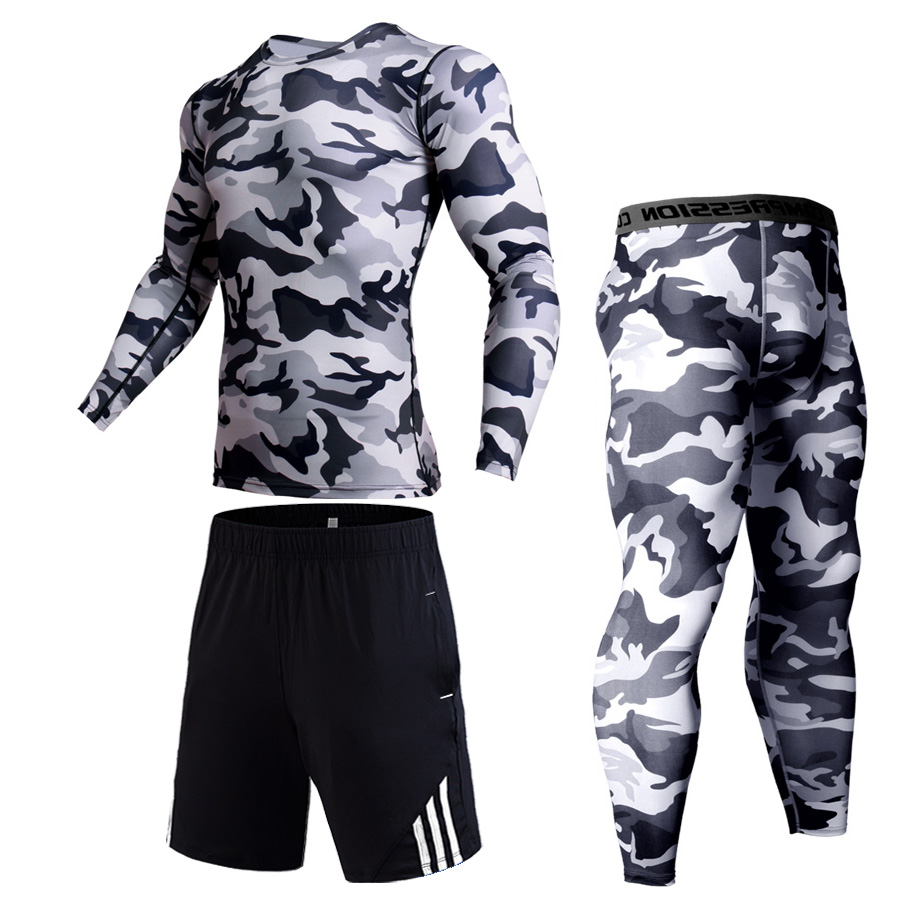 Jogging Suit Winter New Sports Underwear Warm Compression Suit Track Suit Camouflage MMA Tactics Shorts Leggings Jiu Jitsu S-4xl