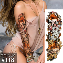 Temporary Tattoo Sticker Fox Rabbit Full Flower Tattoo with Arm Body