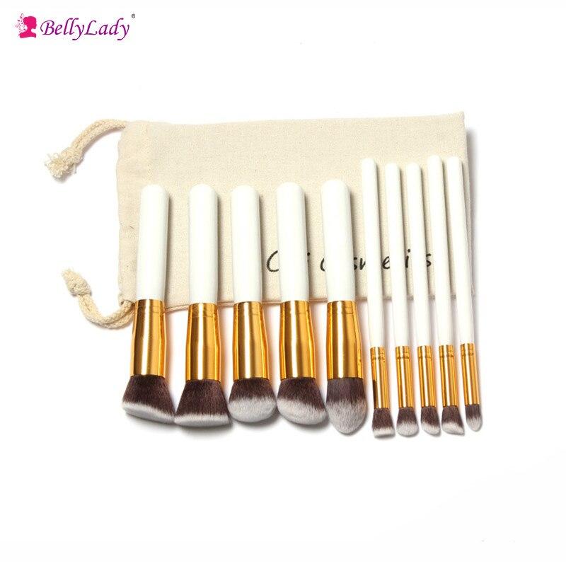 BellyLady Professional 10Pcs Makeup Brush Sets Tools Cosmetic Brush Foundation Eyeshadow Eyeliner Lip Powder Brush