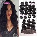 7A Virgen Del Indio Del Pelo Onda Del Cuerpo 4 Bundles Con El Cordón cierre queen hair products indian onda del cuerpo del pelo humano con cierre