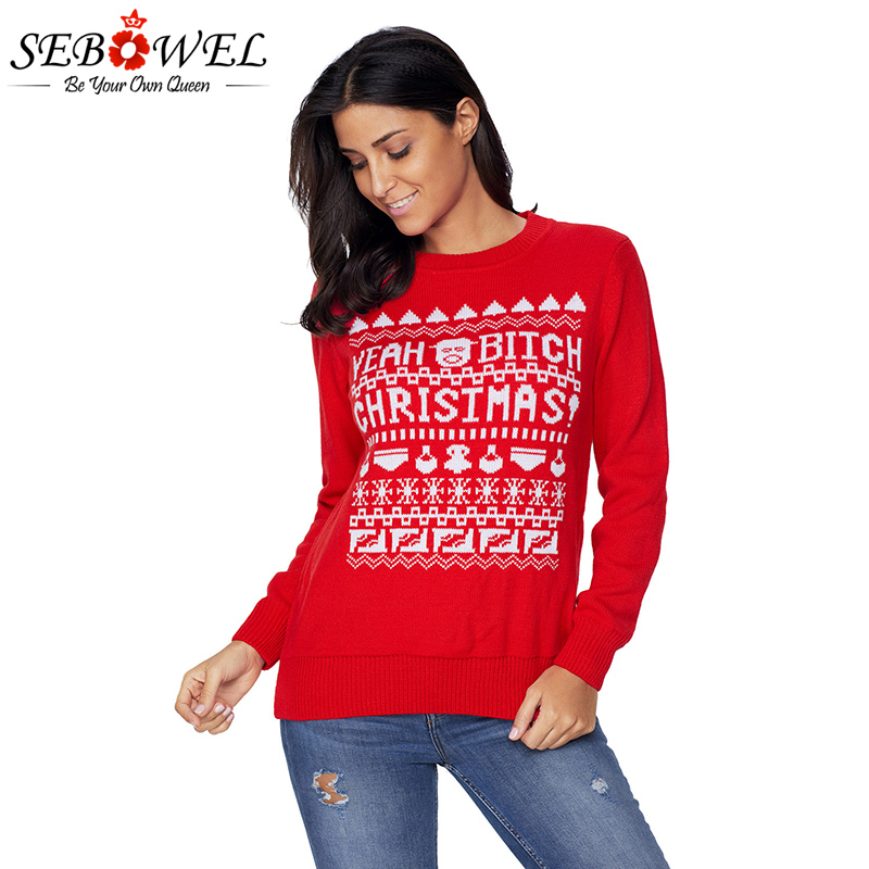 SEBOWEL 2017 New Funny Pullovers Christmas Sweater Women Long Sleeve O-neck Tops YEAH BITCH CHRISTMASS Weater Plus size XXL ...