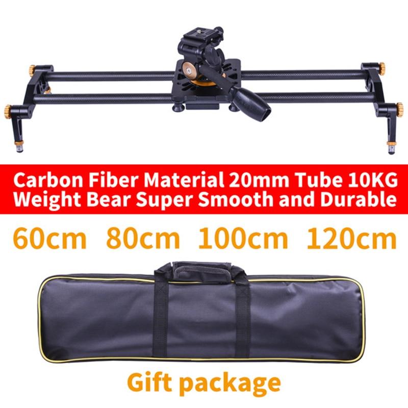 DIGITALFOTO Carbon fiber camera slider 10kg bear travel video slider dolly track DSLR rail parallel shooting fluid head for DSLR