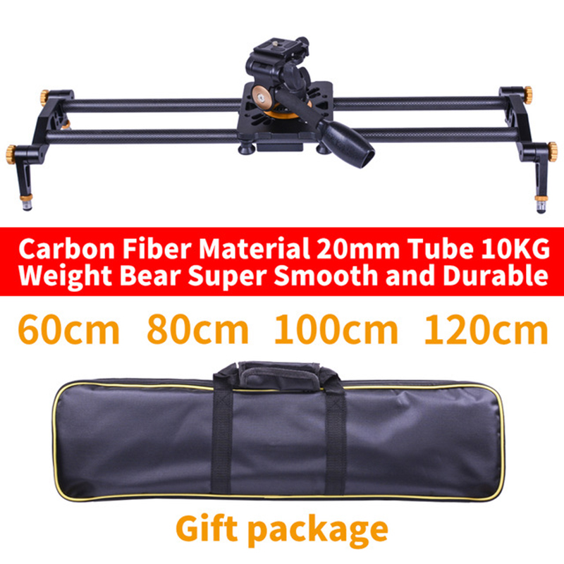 DIGITALFOTO Carbon fiber camera slider 10kg bear travel video slider dolly track DSLR rail parallel shooting fluid head for DSLR