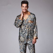 New Luxury pajamas Men Paisley Pattern Sleepwear Silk long-s