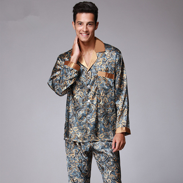 New Luxury pajamas Men Paisley Pattern Sleepwear Silk long-sleeved Satin  Mens Pyjamas Men s Lounge eb7abeab2
