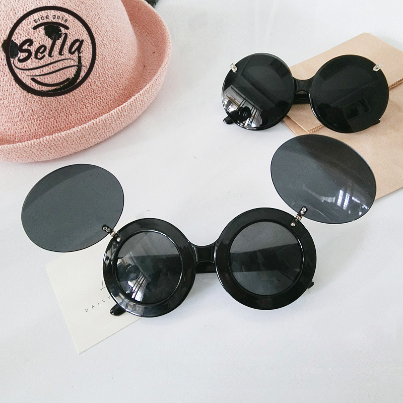 Sella Ins Hot Cute Kids Sunglasses Cool Girls Boys Unique Clamshell Mickey Ears Eyewear Children Outing Decoration