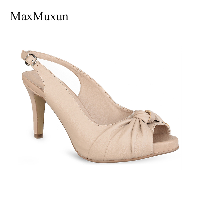 MaxMuxun Womens Peep Toe Slingback Thin Kitten Heels Pumps