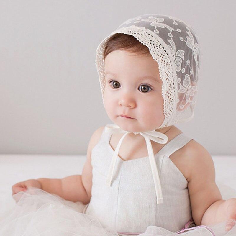 Bow Knot Pattern Newborn Princess Hat Cotton Lace Beanie Cap Cute Little Girl Sun Hat Photo Props Newborn Gift SW124