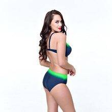 2018 Brazilian Bikinis plus size Swimwear Female Gradient swimsuit push up Bikini Set Retro Bathing suits large cup 5XL