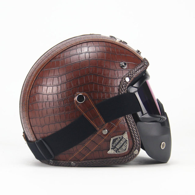 Shipping Pu Leather Harley Helmets 3 4 Motorcycle Chopper Bike
