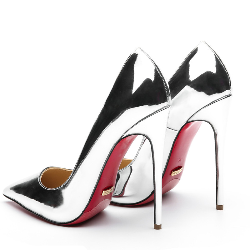 High-Heeled Shoes Stilettos Bottom-Heels Pumps-Size Formal Evening-Party Silver Wedding