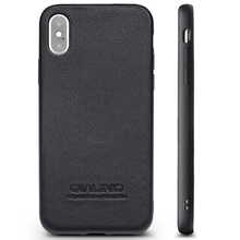 QIALINO Genuine Leather with Silicone Edge Case for iPhone X/Xs