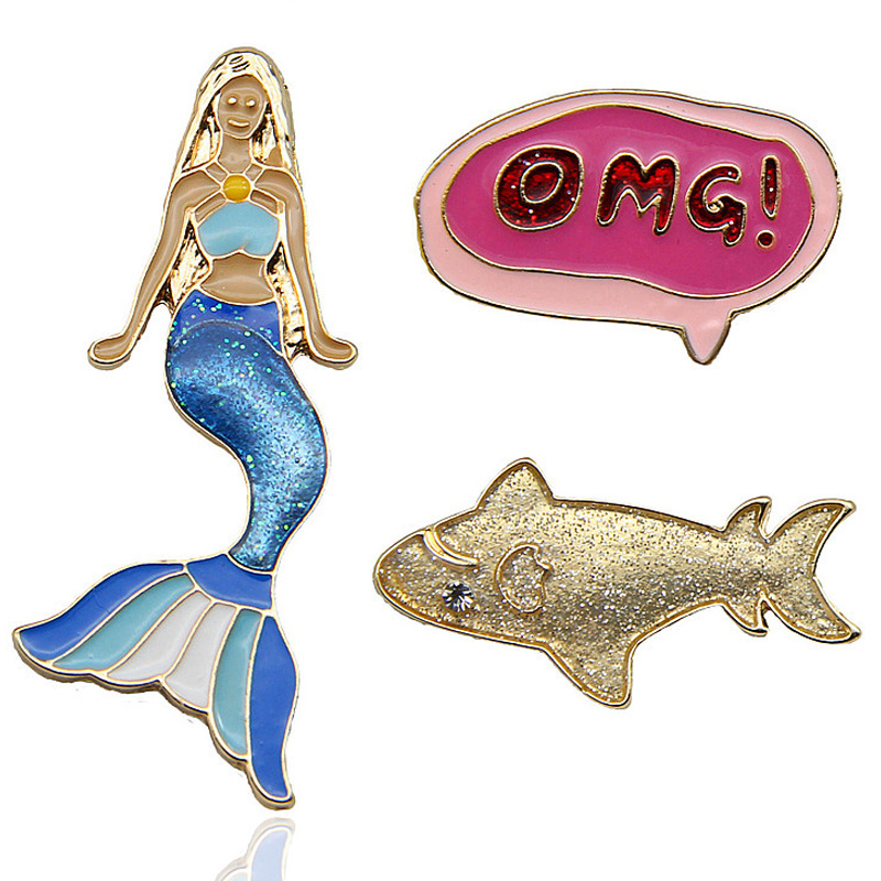 High Quality Cartoon Mermaid Enamel Brooches Pins OMG Fish Backpack Clothing Pins Badges For Women Vintage Fashion Jewelry Gifts