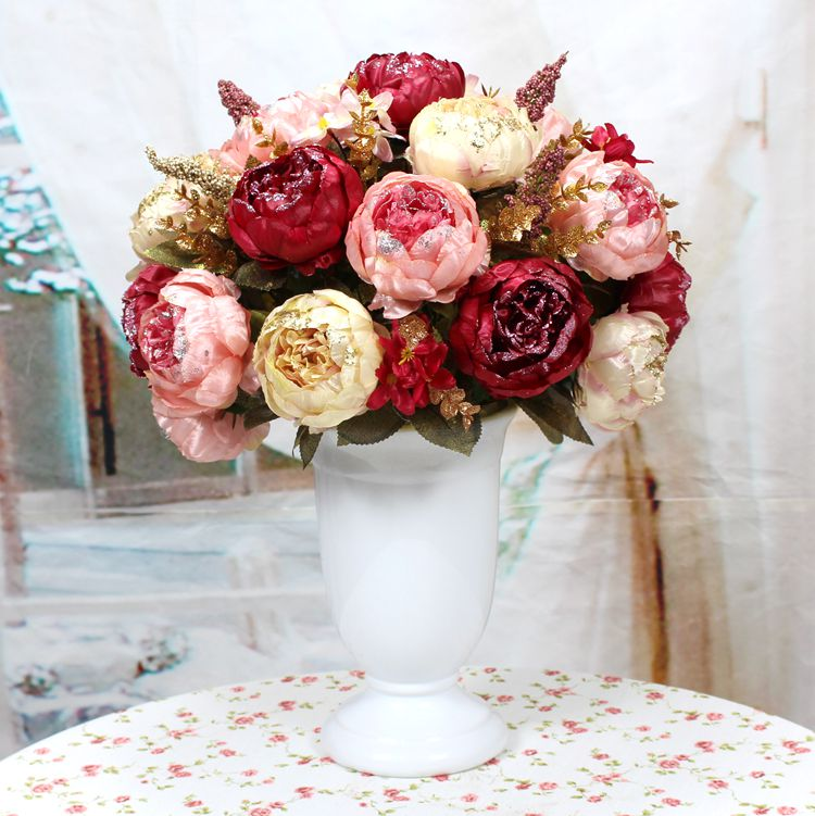 15 big heads3 bouquet artificial red spring flowers big heads pearl 15 big heads3 bouquet artificial red spring flowers big heads pearl tea rose magnolia wedding garden peony bouquet decor in artificial dried flowers from mightylinksfo