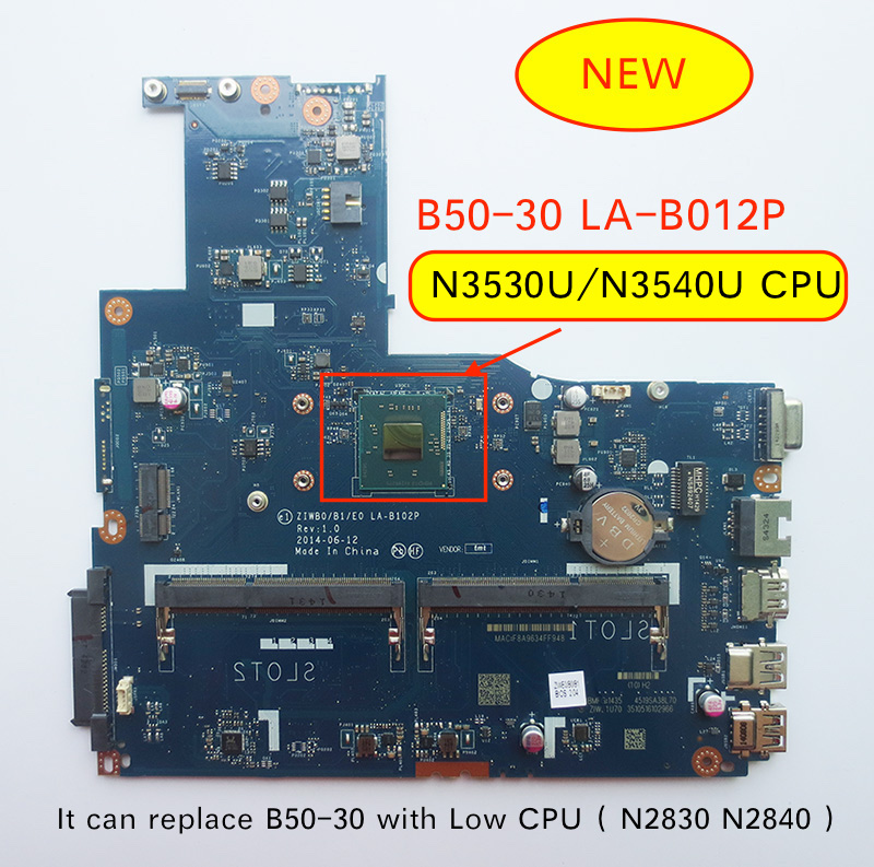 Free Shipping New LA-B102P B50-30 Motherboard For Lenovo B50-30 Laptop With Intel N3540 N3530 CPU