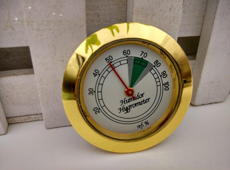 Hygromètre analogique en verre rond 3 pièces/lot | Fabricant de métaux de qualité, verre rond pour humidificateur à cigares en or pour boîtier à cigares/boîte à cigares/tabac
