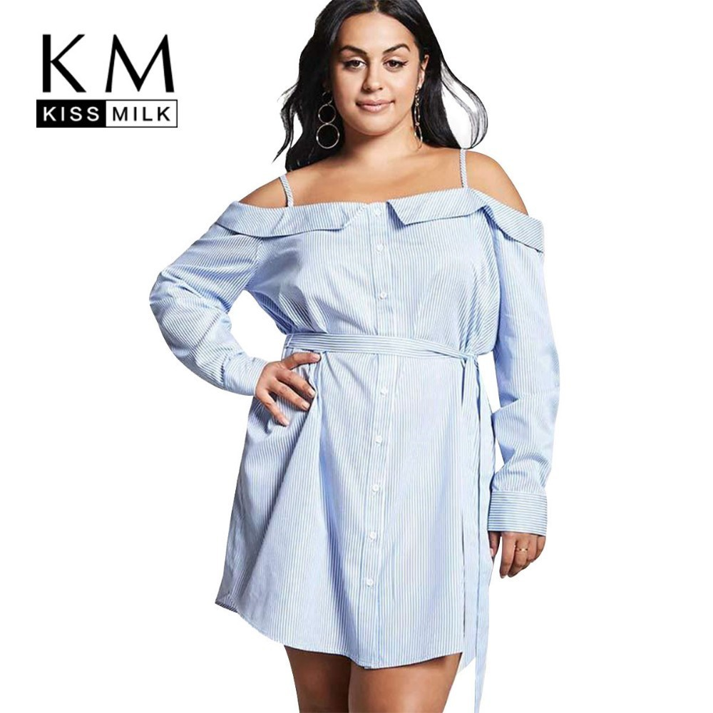Kissmilk Plus Size Women Dress Simple Commuter Sling Strapless Sexy Lace Long Sleeve Shirt Dress in Dresses from Women 39 s Clothing