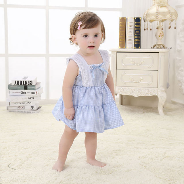 Sweet Floral Cotton Knotbow Birthday Baby Dress For One Year Old