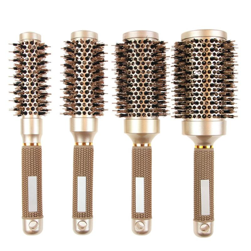 1 Pcs Round Hair Comb Hairdressing Curling Hair Brushes Ceramic Iron Hair Comb Brush Curler Magic Comb Round Comb Hair Brushes