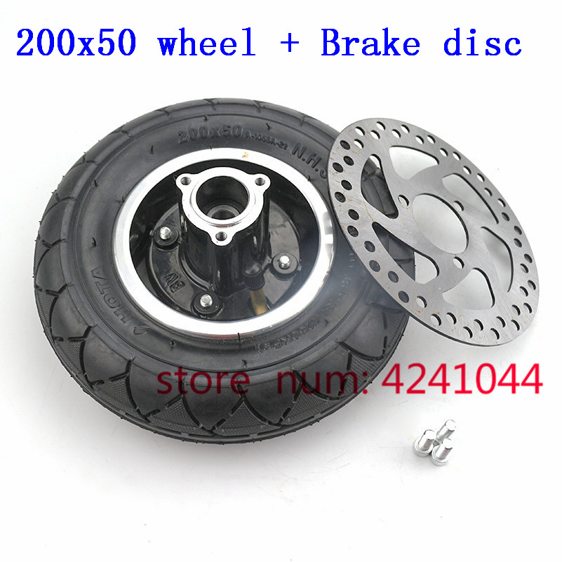200x50 Scooter Tyre With Wheel Hub and Brake disc 8 Scooter Tyre Inflation Electric Vehicle Aluminium
