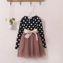 Girls Dresses Polka Dot Bow Knot Long Sleeve 3-8Year