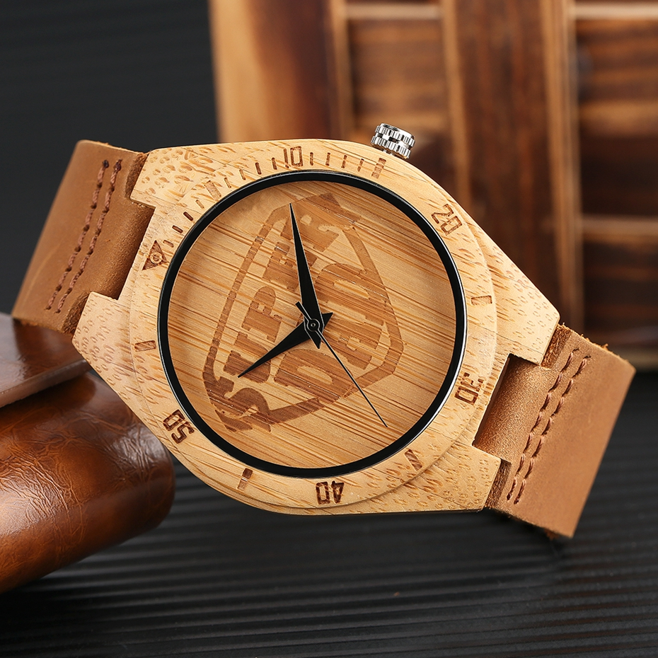 SUPER DAD Wood Watch Simple Bamboo Male Clock Casual Genuine Leather Band Men's Quartz Wristwatch Top Gifts for Dad Father's Day 2017 (9)