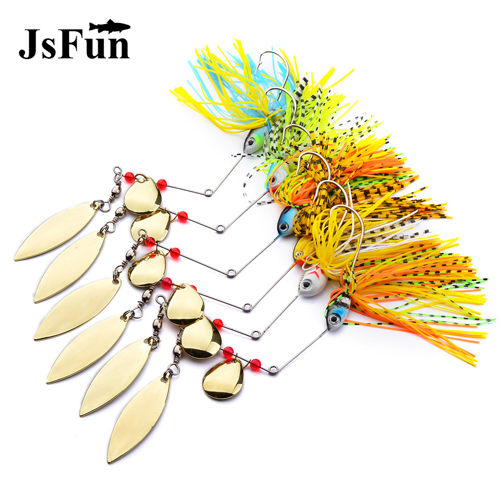 6PCS Metal Sequins Lure Buzzbaits <font><b>Wobblers</b></font> Sinking Spinnerbaits 15-18G Colorado Willow Blades Pike Bass Fishing Lures Baits L165