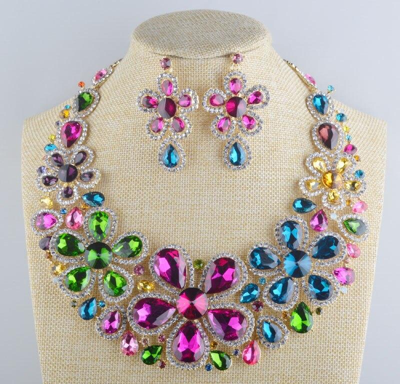 Luxury multi color font b crystal b font bridal wedding necklace font b earrings b font