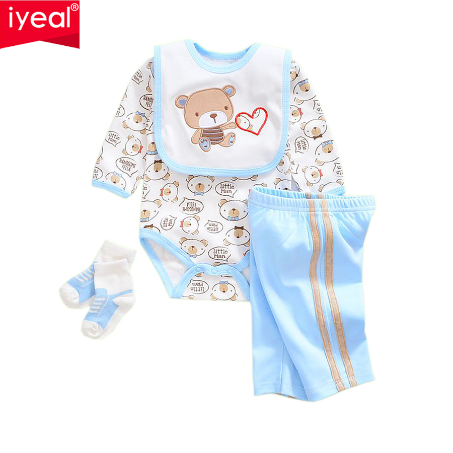IYEAL 2017 Brand Baby Clothes Newborn bodysuit + Pant +Bib +Socks Cotton Cartoon Boy Girl Clothing Set Next Infant Baby Costume newborn 0 3 months baby boy girl 5 pcs clothing set cotton cartoon monk tops pants bib hats infant clothes