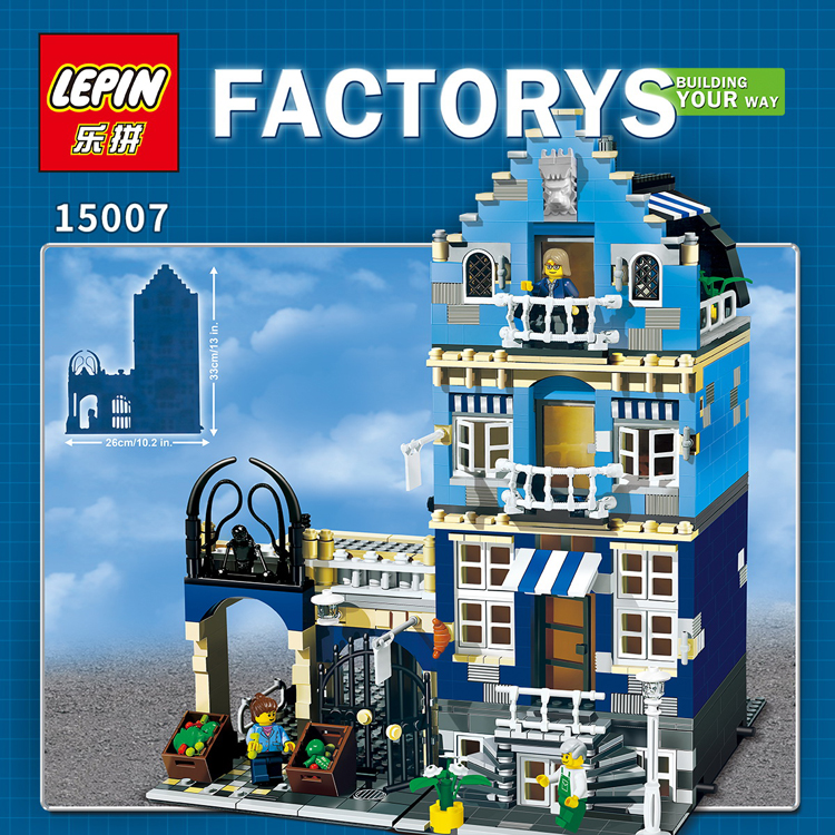 Lepin 15007 1275Pcs Factory City Street European Market Model Building Block Set Bricks Kits DIY Compatible legoed 10190  trendyangel 15007