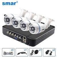 Smar 4CH 1080N 5 в 1 AHD DVR комплект видеонаблюдения Системы 4 шт. 720 P/1080 P IR AHD Camera Водонепроницаемый/купол вариант видеонаблюдения комплект