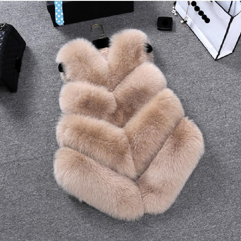 S-4XL Plus Size inverno das Mulheres do falso casaco de pele de raposa Pu  Completa Pelt Fox gola De Pele Sem Mangas Colete costura Colete w1995 dafe1fb095bb1